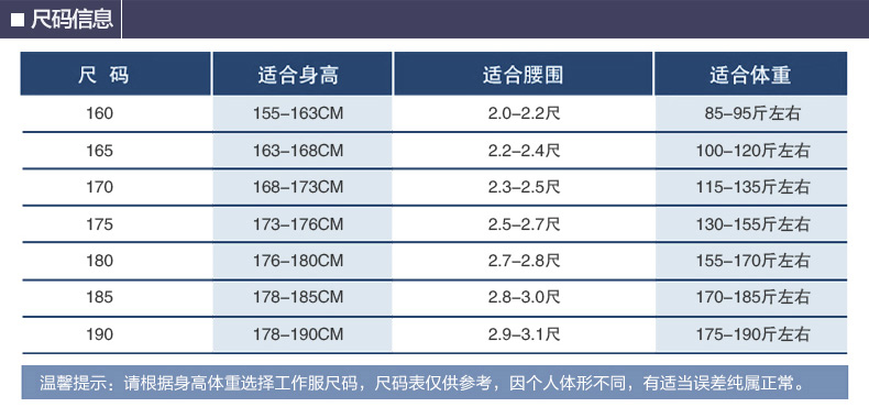 维修电焊、机械加工工作服尺寸表